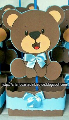 New baby shower ideas centros de mesa para varon Ideas Foam Crafts, Baby Crafts, Diy And Crafts, Teddy Bear Baby Shower, Baby Boy Shower, Bear Theme, Shower Bebe, Baby Shawer, Bear Party