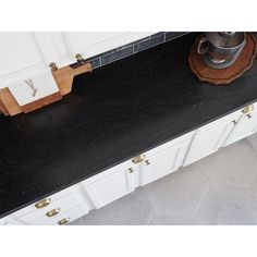 Give a simple and pleasant look to your kitchen space by selecting this Stonemark Granite Countertop Sample in Black Mist Honed. Types Of Countertops, Black Granite Countertops, Custom Countertops, How To Install Countertops, Countertop Materials, Kitchen Countertops, Leather Granite, The Ranch, Kitchen Ideas
