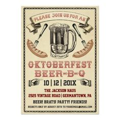 Shop Vintage Oktoberfest Beer-B-Q Party Invitation created by Anything_Goes. Oktoberfest Party, Oktoberfest Invitation, Invitation Fete, Carton Invitation, Engagement Party Invitations, Invites, Holiday Invitations, Dinner Invitations, Invitation Templates