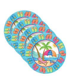 Take a look at this Beach Party Plate - Set of Four by Coastal Kitchen Collection on today! Kitchen Collection, Plate Sets, Beach Party, Coastal Decor, Beaches, Beach House, Outdoor Blanket, Plates, Fun