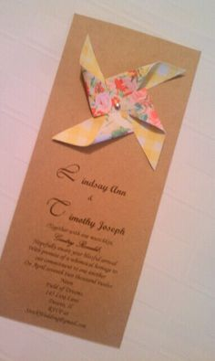 DIY wedding invitation- I like this but on a smaller level with different colors and a peace sign embellishment at the top instead of a pinwheel- small rsvp cards to go with? Country Wedding Invitations, Diy Invitations, Wedding Stationery, Wedding Paper, Diy Wedding, Wedding Ideas, Wedding Stuff, Small Elegant Wedding, Pinwheel Wedding