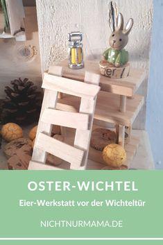 Wichteltür zu Ostern: Osterhasen-Werkstatt Wichteltür // Wichtel // Osterhase // Ostern // Osterdeko // Buchseiten // Upcycling #wichteltür #wichtel #osterhase #ostern #osterdeko #buchseiten #upcycling Kids Interior, Jenga, Babys, Tooth Fairy, Book Pages, Secret Santa, Game Ideas, Babies, Baby