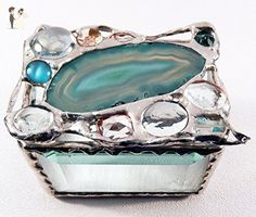 Azure, turquoise and tan agate keepsake box with glass bevels and architectural glass bottom, unusual modern and vintage, some faceted, glass jewels. OOAK. Each is unique and cannot be repeated. - Venue and reception decor (*Amazon Partner-Link)