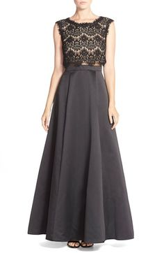 Free shipping and returns on Betsy & Adam Lace Top & Satin Two-Piece Ballgown at Nordstrom.com. Scalloped lace overlays a modern crop top that begins this dramatictwo-piece ensemble, while a voluminous ballgownskirt in a luxurious satin completes the look.