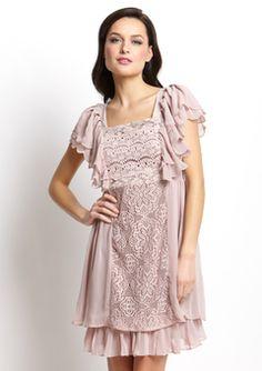 RYU  Purple Short Sleeve Flutter Dress