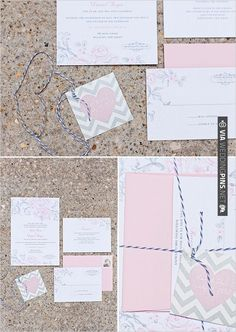 pink and gray wedding invites | VIA #WEDDINGPINS.NET