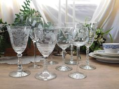 Mismatched Etched Wine Glasses Set of 8 by LittleDixieVintage