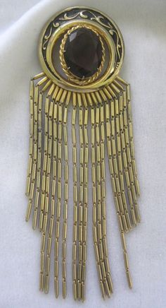 SCHIAPARELLI  Enamel Purple Glass Stone & Long Fringe Fur Clip