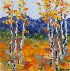 "Daily Painters Abstract Gallery: Palette Knife Aspen Tree Colorado Landscape Painting ""Moments to Remember"" by Colorado Impressionist Judith Babcock"