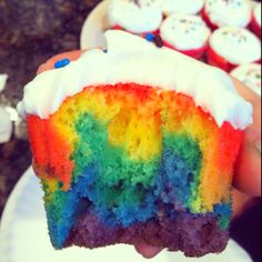 Rainbow cupcakes made by moi So easy to make!!