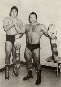 Tito Santana and Ivan Putski after winning the WWF World Tag Team Championship from the Valiants 10-22-79