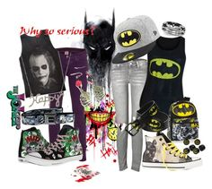 Batman & Joker by shybabyangel on Polyvore featuring polyvore fashion style Mother True Religion Converse Aéropostale River Island DC Shoes women's clothing women's fashion women female woman misses juniors
