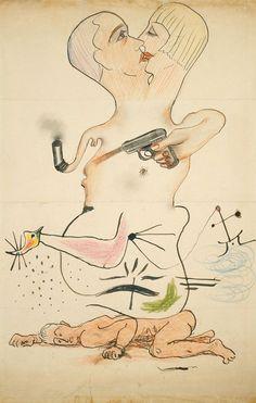 CADAVER EXQUISITO (1928). Es una obra colectiva, realizada sobre una hoja de papel doblada en tres, en la que cada artista dibuja una parte sin ver lo que ha hecho el anterior. En este caso los artistas fueron: MAN RAY, YVES TANGUY, JOAN MIRÓ y MAX MORISE.