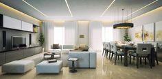 LED Streifen zieren die Decke des Wohnzimmers