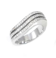 This is a waved invisible paves ring, set with diamonds. The ring is set with 61 diamonds, round brilliant cut, white color in ranges of F-G, clarity is eye clean VS1, total carat weight is 0.60 carat.(Thering is available with any kind of diamonds & gemstones, pleasecontact usfor more Information)What's my ring size?>>