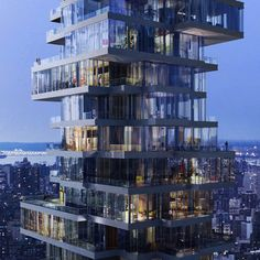 "56 Leonard Street, a 250 metre-high residential tower in New York designed by architects Herzog & de Meuron and dubbed the ""Jenga building""."