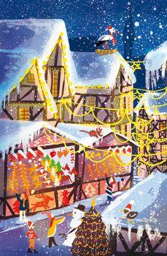 Noël à Strasbourg  © Pioupiourico - illustration Georgia Noël-Wolinski. #culturefrançaise #france #patrimoine #jeu #enfant #famille #transmission #tradition #7familles #familyfirst