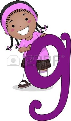 Illustration of a Kid Standing Behind a Letter G