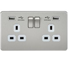 Brushed Chrome Double Gang, Dual USB Charger Socket