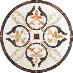 Model: Size: Diameter or Description: Cream Marfil… Art Deco Tiles, Floor Patterns, Fireplace Mantels, Accent Pieces, Marble, Flooring, Stone, Circles, Ornament