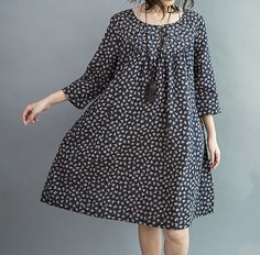 women Loose fitting Knee length dress Comfortable cotton clothing in dark blue