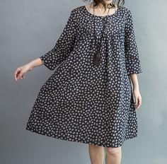 women Comfortable cotton clothing Knee length dress by MaLieb