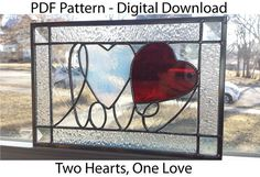 Two Hearts One Love Stained Glass PDF Pattern by kkirk78 on Etsy