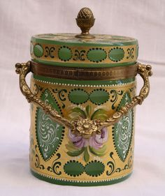 Magnificent 1900's French Enameled Opaline Biscuit Jar   eBay