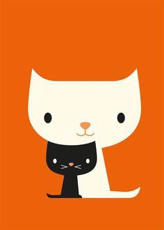 Katzen schwarz/weiß- super auch als Applikation