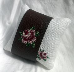 Brown leather with Pink Rose cross stich by CraftingYourHome