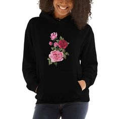 Beautiful and trendy flowers illustration in watercolor design. Everyone needs a go-to, cozy sweatshirt to curl up in, so go for one thats soft, smooth, and stylish. Sweat Shirt, Plus Size Hoodies, Red Hoodie, Plus Size Outfits, Hooded Sweatshirts, T Shirts For Women, Shopping, Beautiful, Trending Outfits