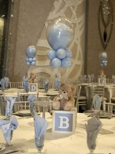 Baby boy baby shower decorating tables with blue balloons and teddy bears. It is super cute. babyteddybear Baby boy baby shower decorating tables with blue balloons and teddy bears. It is super cute. Baby Shower Table Centerpieces, Baby Shower Decorations For Boys, Boy Baby Shower Themes, Elephant Baby Shower Centerpieces, Teddy Bear Centerpieces, Baptism Centerpieces, Balloon Centerpieces, Baby Boy Babyshower Themes, Babyshower Centerpieces For Boys