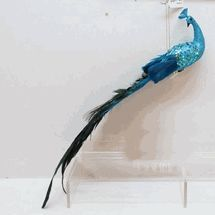 """Beautiful Blue Peacock feather Ornament 13.5"""" clip on bird by Sterling"""