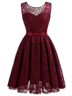 Simple Cheap Chic, Shop Round Neck Bowknot See-Through Belt Lace Lace Skater Dress online. A Line Prom Dresses, Homecoming Dresses, Short Dresses, Formal Dresses, Skater Dresses, Evening Dresses, Sheer Dress, Lace Dress, Look Fashion