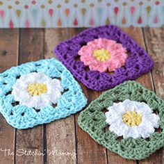 Daisy Granny Square. Download this free pattern at allcrochetpatterns.net