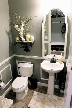 """Valspar Wet Cement on the walls....and I'm dying over the reflection in the mirror! Check out that entryway coat """"closet""""!"""