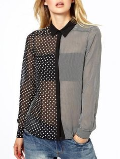 Polka Dot Print Striped Lapel Asymmetrical Women's Stylish Blouses