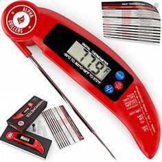 Instant Read Meat Thermometer For Grill And Cooking. UPGRADED MODEL NOW WITH MAGNET AND CALIBRATION FEATURE. Best Ultra Fast Digital Kitchen Probe. Includes Internal BBQ Meat Temperature Guide ** To view further for this item, visit the image link.-It is an affiliate link to Amazon.
