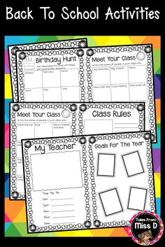 Start the school year off with these Back To School Activities! Includes; All About Me Worksheet, Birthday Scavenger Hunt, Meet Your Class Scavenger Hunt, Class Rules, My Teacher and Goals for the Year. © Tales From Miss D