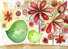 Any Which Way   Watercolor birds Original by fromsmallthings, $185.00