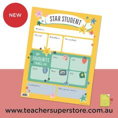 NEW: Star Student Chart This beautifully illustrated chart can be used to help students get to know each other, recognise the student of the week, or to celebrate a student on their birthday. Purchase this chart for your classroom.