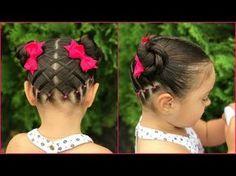 Peinado para niñas con ligas y trenzas pegadas|Peinados para niñas faciles y rapidos|LPH - YouTube