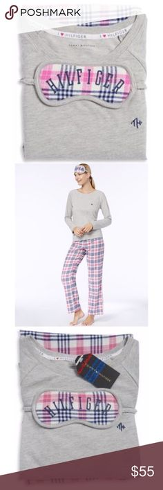 💖 Tommy Hilfiger 2 Piece Set + Eye Mask 🌜Sweet Dream Tart  Cotton Blend pajama set, Rib - Knit Round Neck Top, Elasticized Draw String Waist. Tommy Hilfiger Intimates & Sleepwear Pajamas