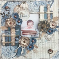 """Maja Design Denim & Fiends. Amy's Pretty Papers: I So Love Books 8x8 Layout July 2017 """"Veriloquent Vintage"""" Blog Hop at ***Cheery Lynn Designs***!"""