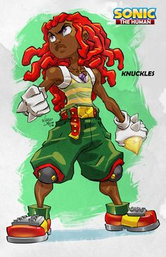 "Knuckles the Human from my concept ""Sonic the Human"". Ever vigilant to protect the Master Emerald on his floating island Knuckles was only a tad bit phased by his altered physical appearance. by marcusthevisual Sonic The Hedgehog, Silver The Hedgehog, Shadow The Hedgehog, Hedgehog Art, Black Anime Characters, Sonic Fan Characters, Cartoon Characters, Black Cartoon, Cartoon Art"