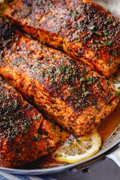 Blackened Salmon with Lemon Butter Sauce - salmon recipe - This delicious blackened salmon recipe is fool-proof and ready in under 30 minutes - recipe by Healthy Salmon Recipes, Fish Recipes, Seafood Recipes, Dinner Recipes, Cooking Recipes, Crockpot Recipes, Vegetarian Recipes, Salmon Dishes, Healthy Cooking Recipes