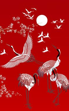All Japanese Cranes Theme Pack Stencil - pochoir Japanese Drawings, Japanese Artwork, Japanese Painting, Japanese Prints, Chinese Painting, Chinese Art, Japanese Tattoos, Japanese Colors, Japanese Flowers