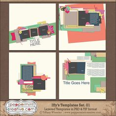 Iffy's Templates Set.1 - Digital Scrapbook Templates by  @Tiffany Wheeler  #sketches
