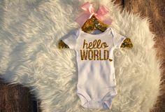 Hello World Bodysuit Baby Girl Newborn Shirt by HauteBelliesShop