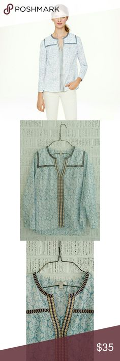 J. Crew Embroidered Peasant Top in Block Print Hand-drawn trim gives this airy peasant top a little bit of edge. Cotton. Front keyhole with hook-and-eye closure. Bracelet sleeves. Blue & white print with tan & navy embroidery. Machine wash. Item?08512. This style runs large. There is a hint of snag (pictured; barely visible in pattern but wanted to mention), otherwise in EUC. No trades. Bundle + save!! J. Crew Tops